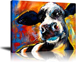 GUYUEHU Colorful Cow Wall Art Decor Playful Farm Cow Poster, Cute Animal Canvas Prints Framed Artwork Living Room Bedroom Bathroom Office Home Decoration 16x20