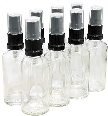 Pack de 8 botellas con atomizador negro - Cristal transparente ...
