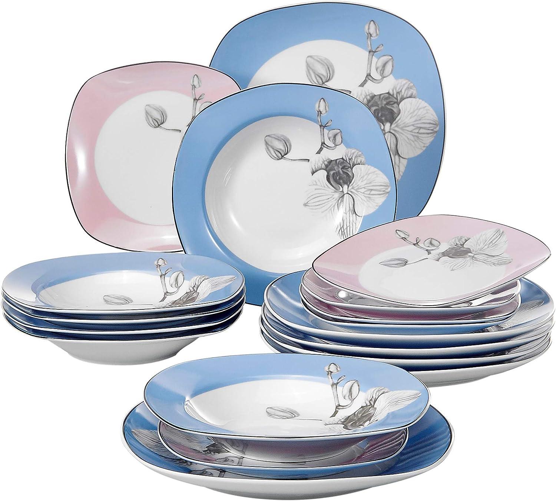 VEWEET Debbie 18pcs Assiettes Pocelaine Service de Table 6pcs Assiettes Plates 24,7cm 6pcs Assiette /à Dessert 19cm Vaisselles C/éramique pour 6 Personnes Cadeau F/ête 6pcs Assiette Creuse 21,5cm