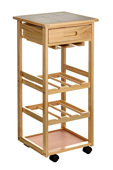 premier housewares 2403026 carrello da cucina legno di pino piano con mattonelle di ceramica