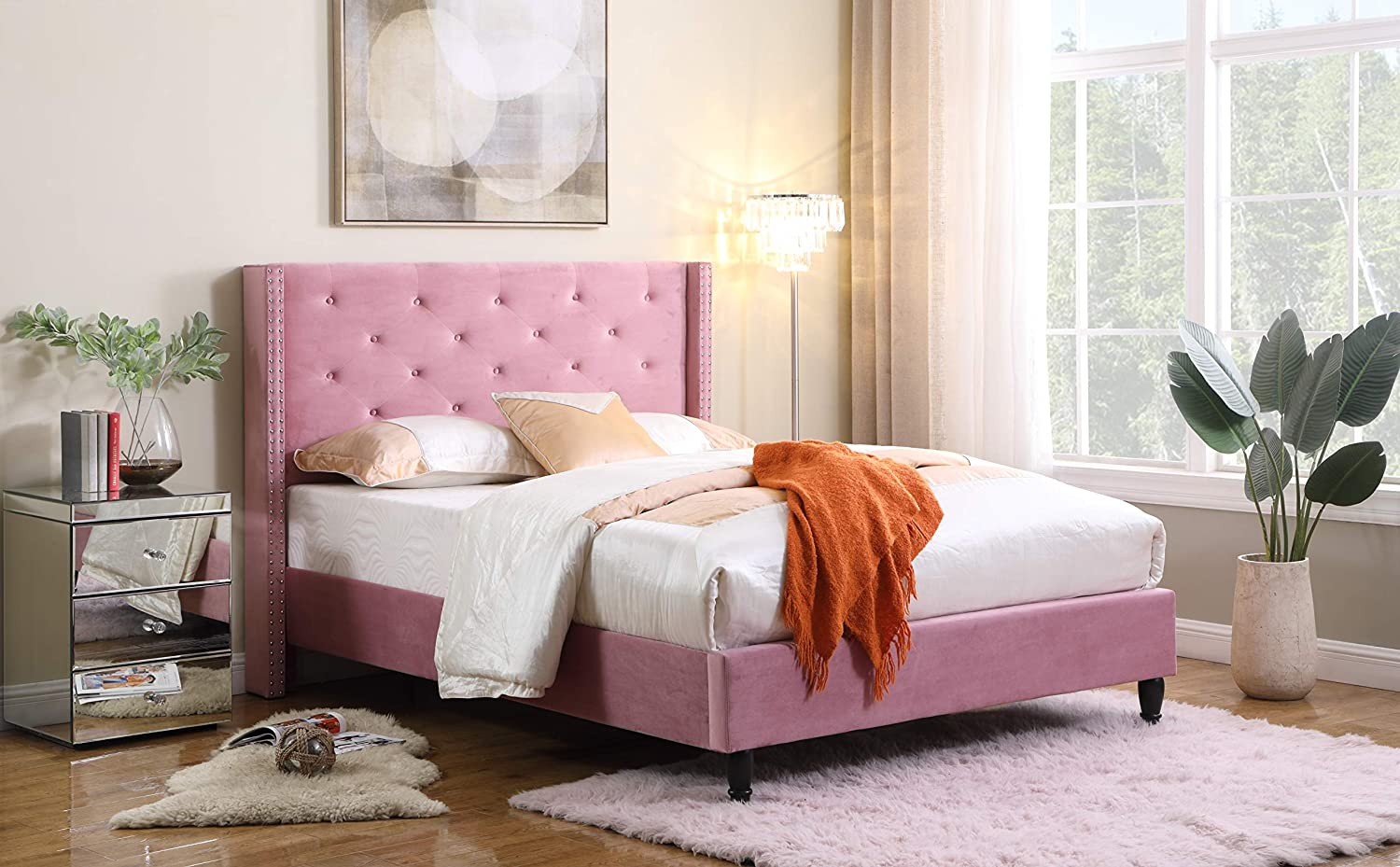 "Home Life Pink King-Complete 5 Year Warranty 07 Premiere Classics Velour 51"" Tall Headboard Platform Bed with Slats King-007"