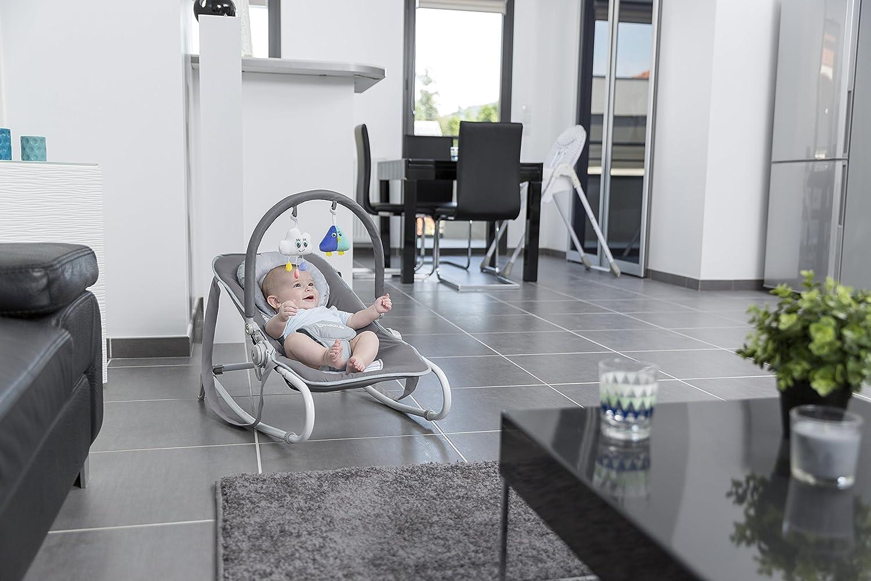 5-fach verstellbarer R/ückenlehne abnehmbarem Spielbogen und Sitzbezug mit integrierter Kopfst/ütze Badabulle Easy Moonlight Babywippe