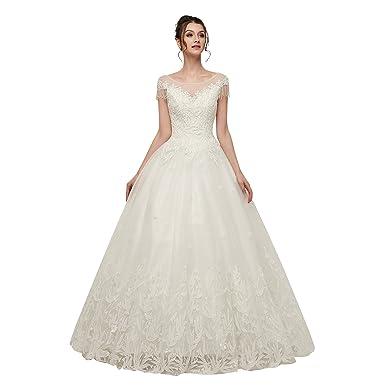 9a012fb380434 Lazacos Women's Sheer Cap Sleeve Beading Lace Applique Corset Princess Wedding  Dress White US2