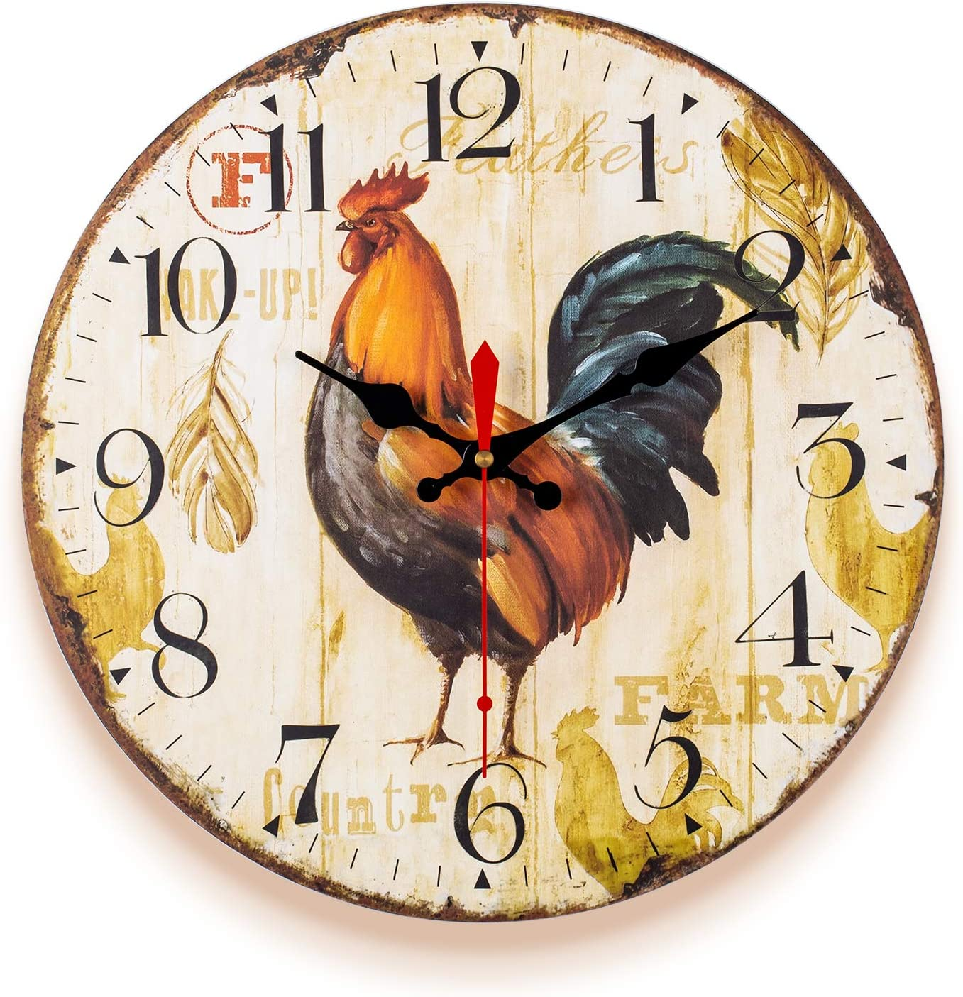 SkyNature Kitchen Wall Clock, 14 Inch Rooster Vintage Decorative Clock, Non-Ticking Quartz Battery Operated Silent Clock, Easy to Read Wooden Clock for Living Room,Bedroom,Kids Room and Coffee Bar