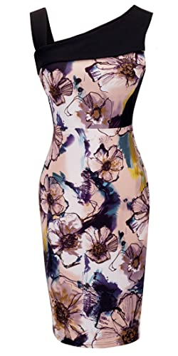 HOMEYEE Women's Sleeveless Floral Print Casual Sheath Dress B285