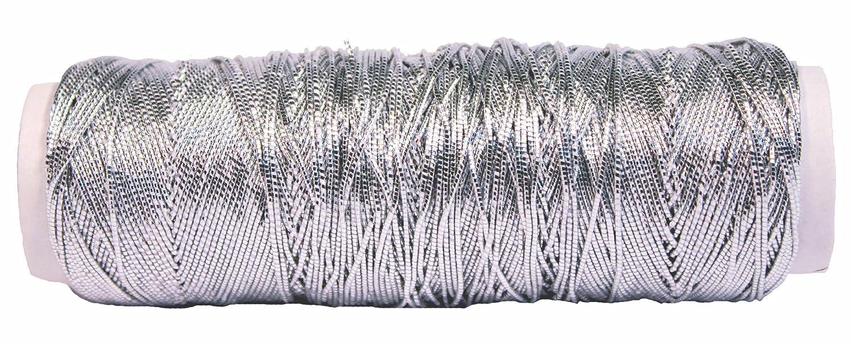 Creative Hobbies Thin Metallic Elastic Beading, Jewelry, Tinsel Cord, 50 Yard Roll - Silver 4336807606