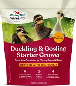 Manna Pro Duck Starter Grower Crumble | Non-Medicated Feed for Young Ducks | Supports Healthy Digestion | 8 Pounds