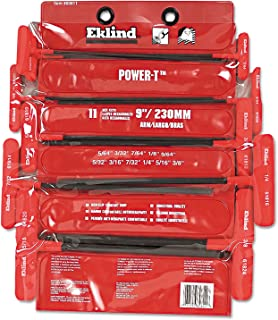 """product image for Eklind Tool - Power-T T-Handle Ball-Hex Key Sets 11 Key Ball Power T Keyset In Vinyl Pouch 9""""Arm: 269-60811 - 11 key ball power t keyset in vinyl pouch 9""""arm"""