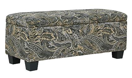 Outstanding Amazon Com 40 Grey Paisley Velvet Tufted Storage Ottoman Lamtechconsult Wood Chair Design Ideas Lamtechconsultcom
