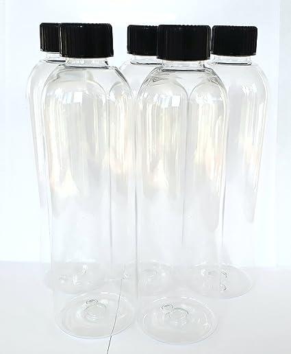 Detail Solutions Botella de plástico vacía con tapones de rosca negra, 5 unidades de 250