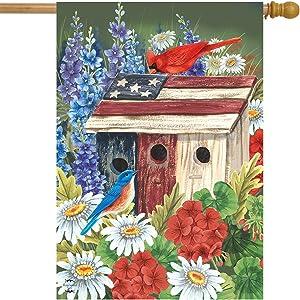 Briarwood Lane Patriotic Gathering Spring House Flag Birdhouse Floral Cardinal 28
