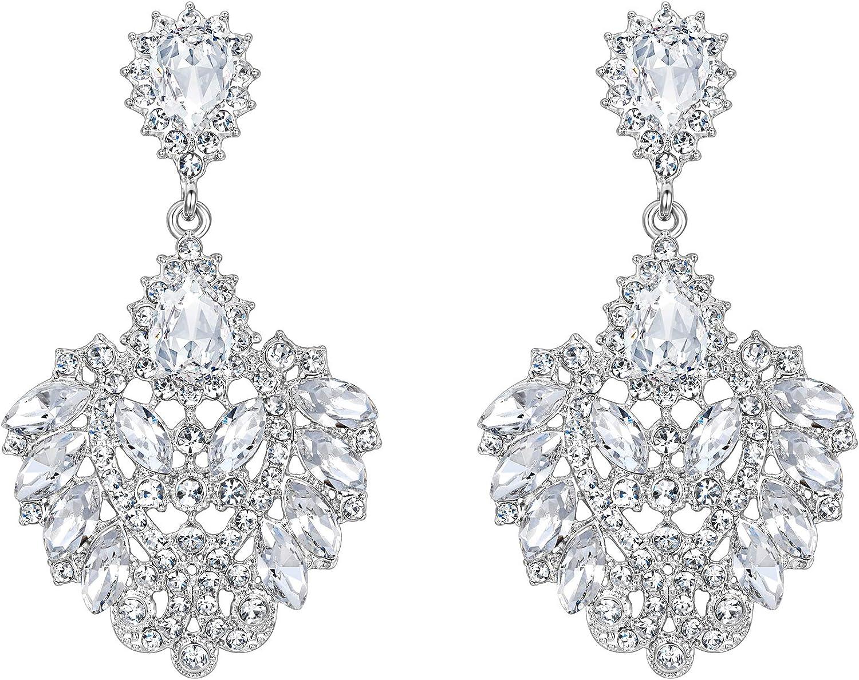 Clearine Femme Parure Bijoux Mariage Soirée 925 Argent Cristal Autrichien Stras