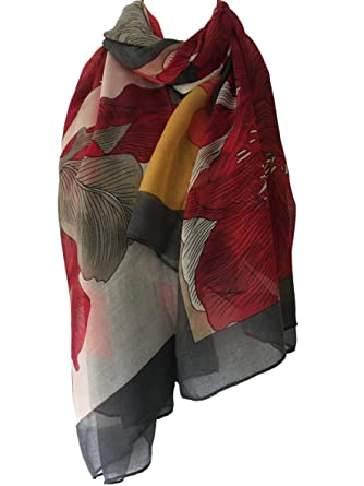 235edfed52f1c Purple Possum® Scarf Red Grey Yellow Beige Floral Wrap Flowers Print Large  Shawl