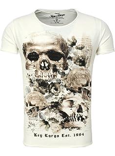 Key Largo Herren T-Shirt PRIME Totenkopf Rosen Vintage Look Sommershirt 2f4451bb8b