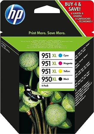 HP 950XL/951XL Negro, Cian, Amarillo cartucho de tinta - Cartucho de tinta para impresoras (Negro, Cian, Magenta, Amarillo, Alto, 10 - 90%, -40 - 60 °C, 5 - 35 °C, 10 - 90%): Amazon.es: Oficina y papelería