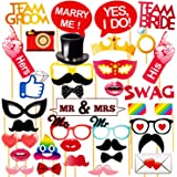 WOBBOX Wedding Photo Booth Party Props , Marriage Photo Booth Party Props , Wedding Party Props - (32 Piece)