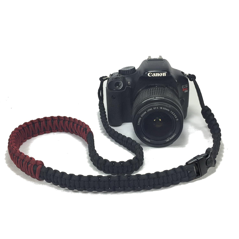 消防士レッドとブラックパラコード50インチDSLRデジタルカメラ首肩安全ストラップセキュリティバックル B07D3K686X