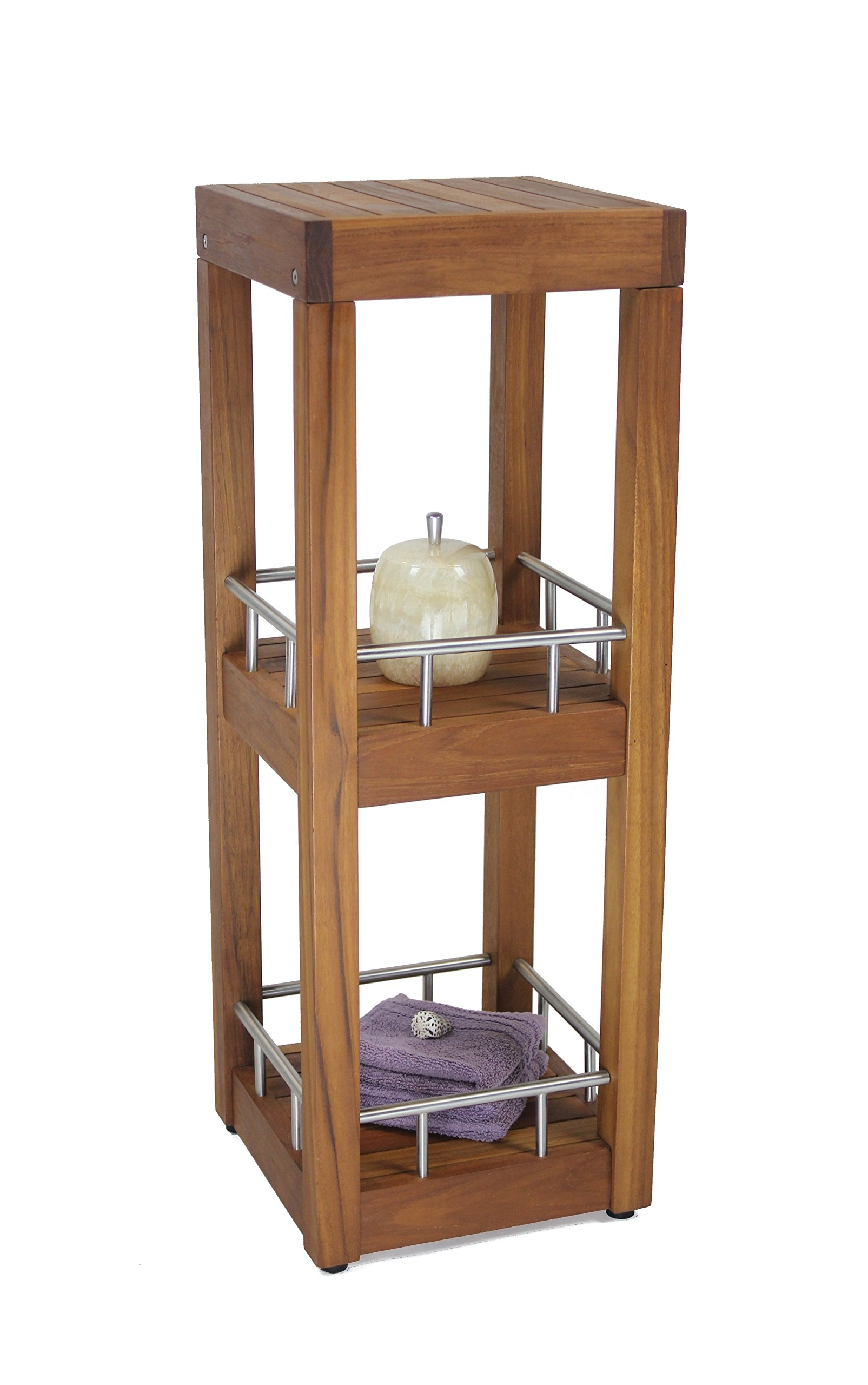 The Original Sula Square Three Tier Teak & Stainless Bath Stand by AquaTeak