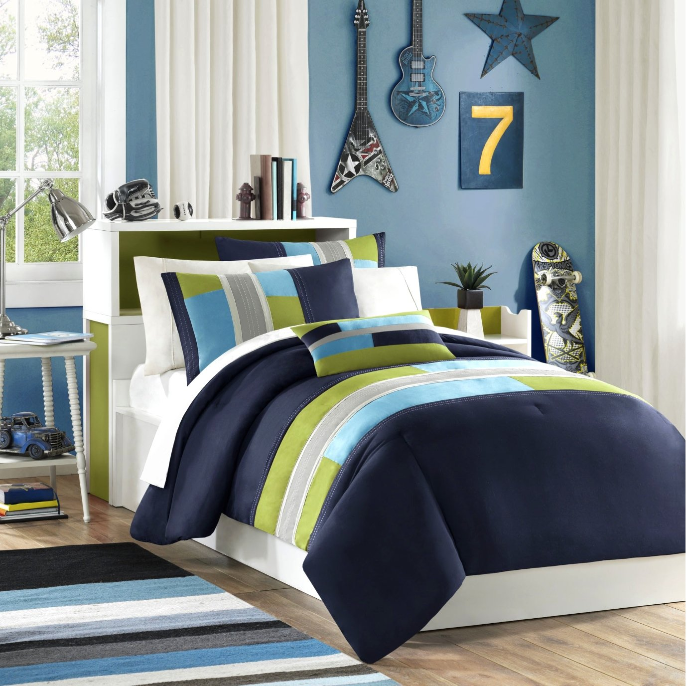 Navy, Teal, Light Green Boys Twin Comforter and Sham Set