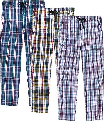 JINSHI Hombre Pantalones de Pijama Algodón Casa Shorts a Cuadros con Bragueta de Botón