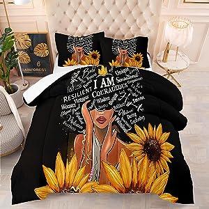 Black Girl Magic Bedding Set African American & Sunflower Comforter Set Queen Size Black Women Quilt Sets for Bedroom Decor,1 Comfoter +2 Pillowcase