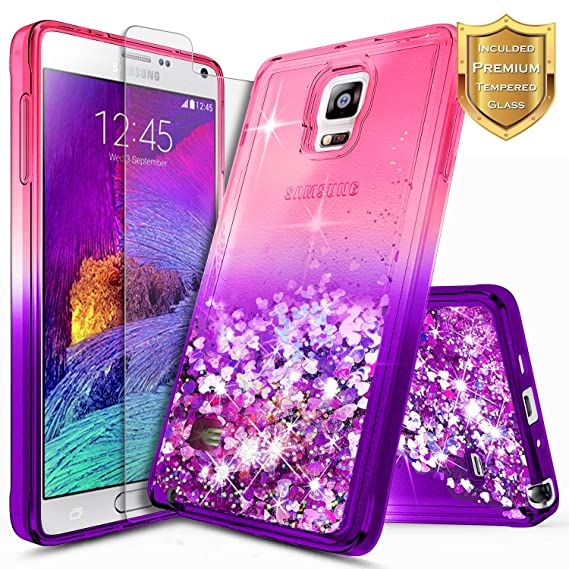 reputable site 20d21 7c41b Note 4 Case, Galaxy Note 4 Glitter Case w/[Tempered Glass Screen  Protector], NageBee Liquid Quicksand Waterfall Flowing Sparkle Bling Girls  Cute Case ...