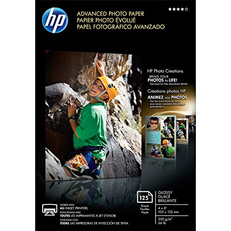 Hp Advanced Photo Paper, Glossy (125 Sheets, 4 X 6 Inches, Borderless)