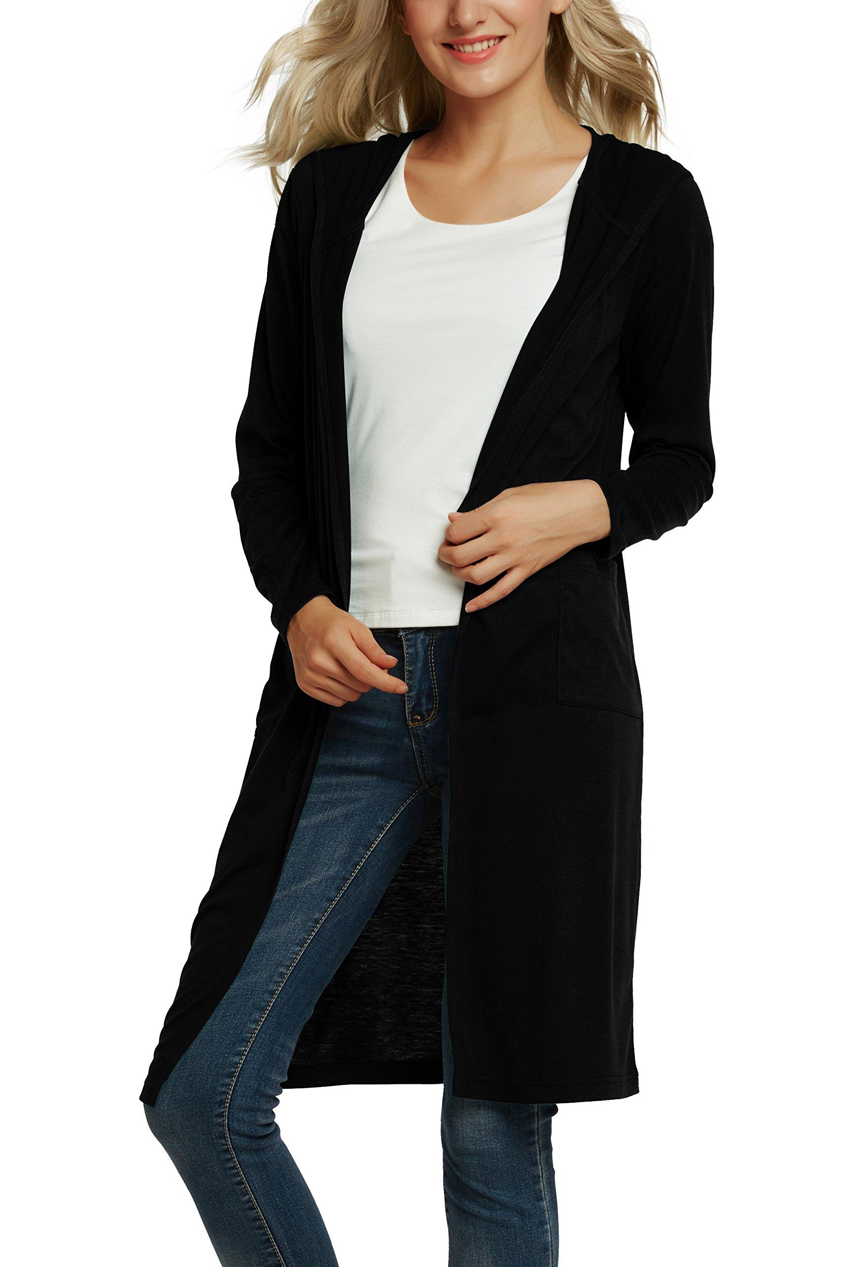 Urban CoCo Women's Classic Open Front Lightweight Long Hooded Cardigan (XL, Black)