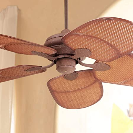 42 Tropical Coastal Outdoor Ceiling Fan Rust Brown Rattan Blades Wet Rated for Patio Porch – Casa Vieja
