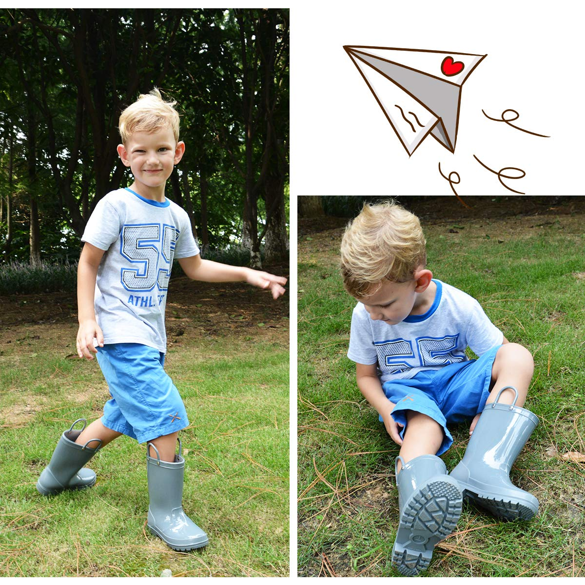 KomForme Kids Rain Boots, Environmental Material Boots with Memory Foam Insole and Easy-on Handles Grey by KKomForme (Image #7)
