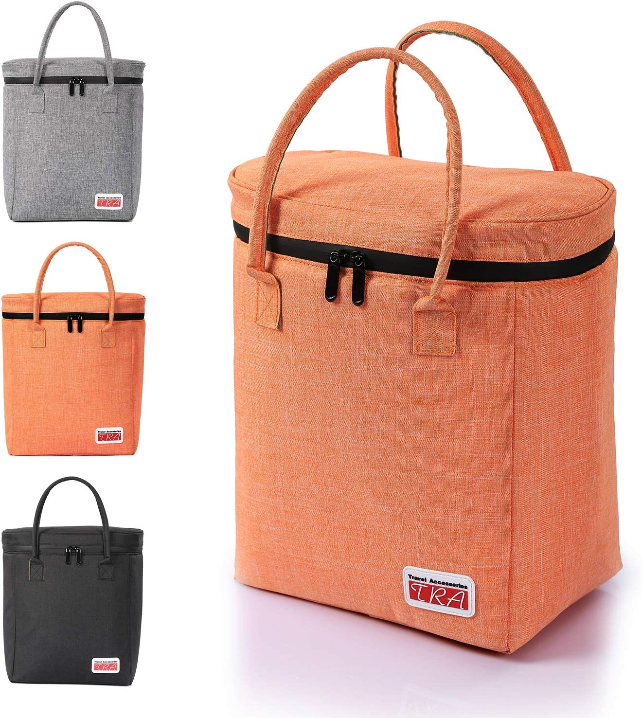 Insulated Cooler Bag/PicnicTote/Car Cooler/Reusable Collapsible Grocery Bag; Waterproof Material & Zip, Leakproof & Eco Friendly Liner, 12.5''H/11.0''L/7.1''W (Orange)