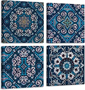 "Acocifi Canvas Wall Art Indigo Vintage Mandala Flowers Patterns Pictures Prints Modern Paintings 4 Panels Framed Artwork Ready to Hang for Bathroom Bedroom Living Room Office Home Decor , 14""x14""x4 Pieces"