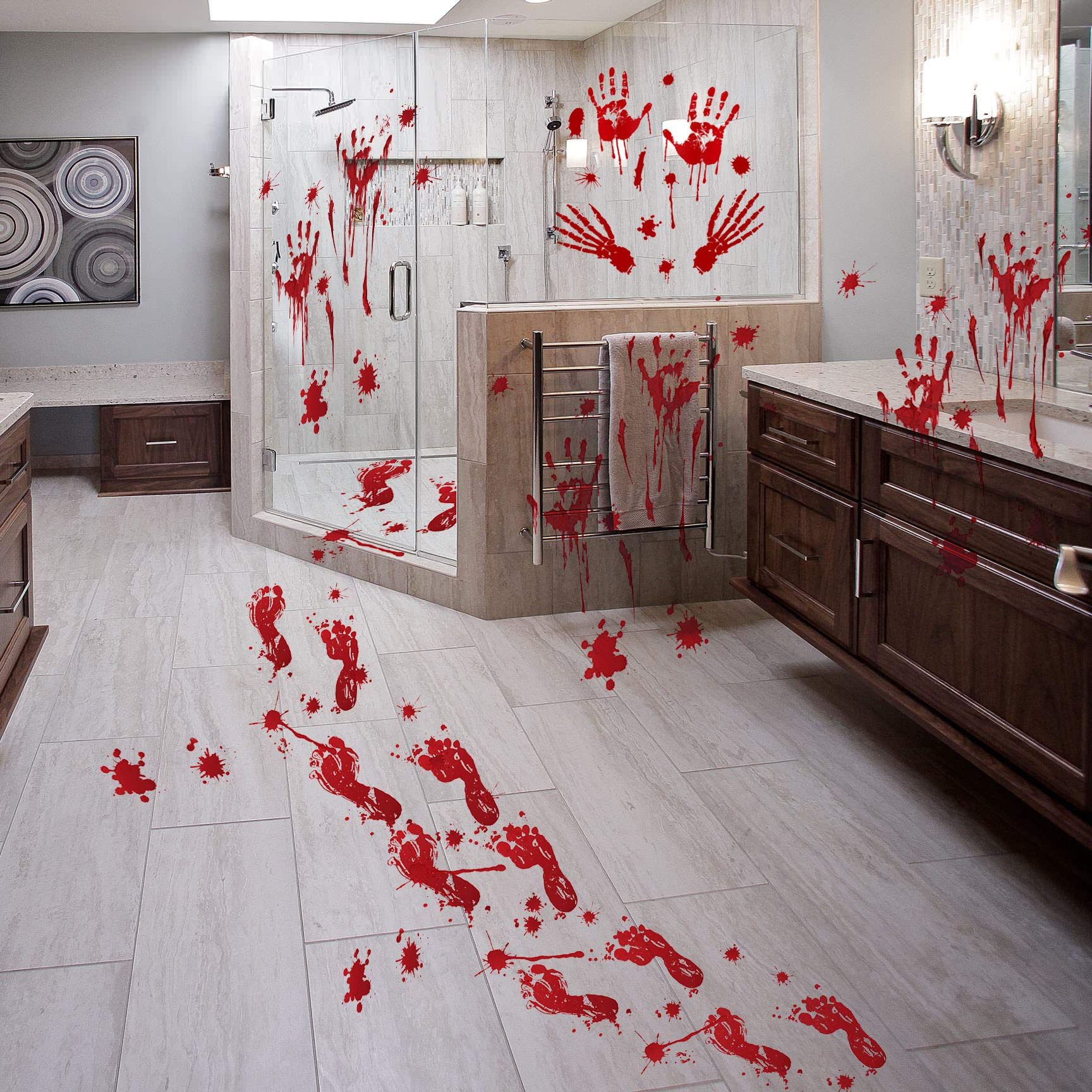 8 Sheets About 60 PC Halloween Party Decor Bloody Footprint Handprint Clings, Unique Halloween Decorations, Horror Bloody Window Floor Sticker Decal Set Style-B