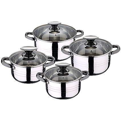 San Ignacio Premium Dina - Bateria de cocina de 4 piezas, acero inoxidable, 1.9L-2.7L-3.5L-5.1L, apta para todo tipo de cocinas incluido inducción, ...