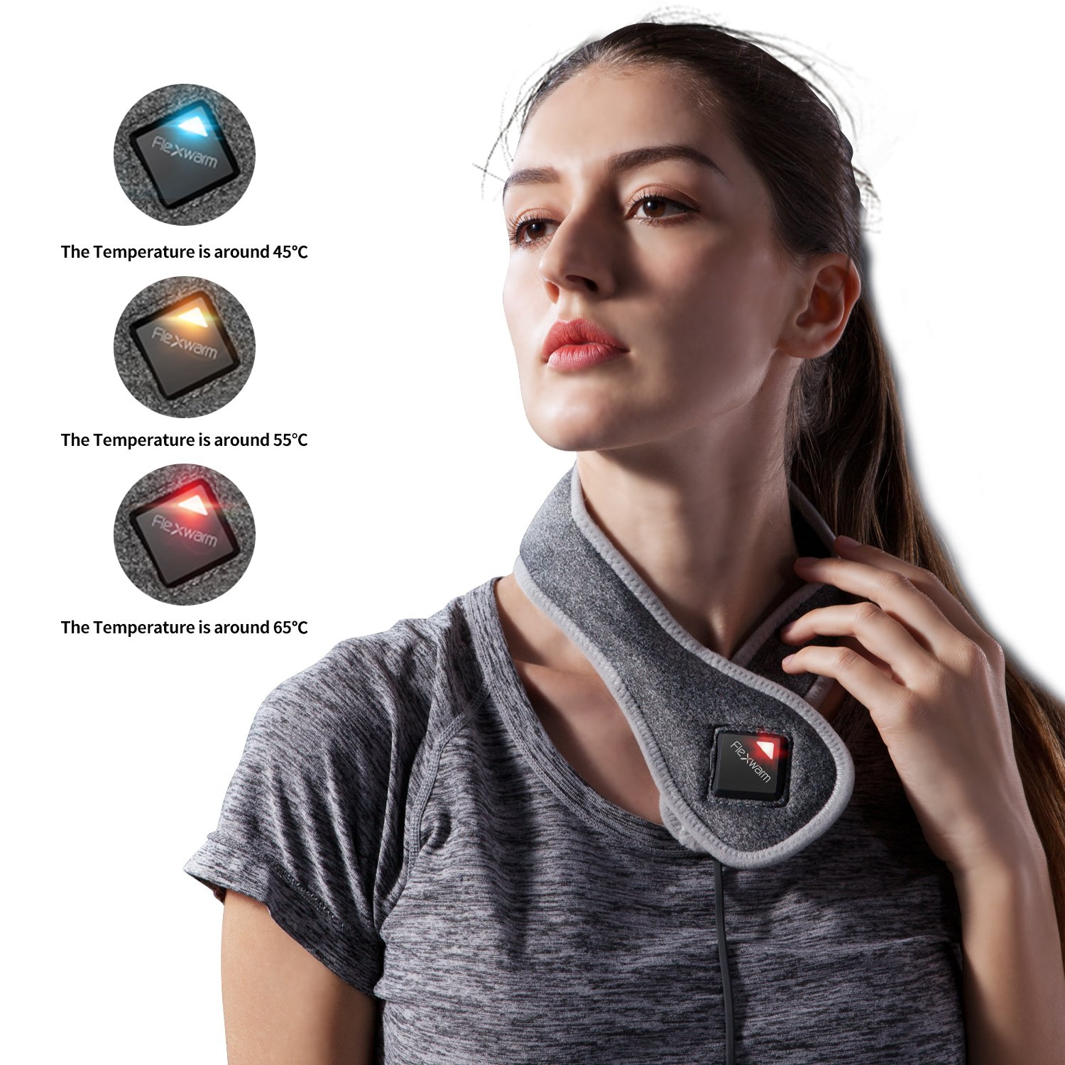 Beautprincess Neck Heating Pad Thermal Pain Relief Wrap Therapy Hot Pack Far Infrared with Bluetooth APP Control by Beautprincess (Image #4)