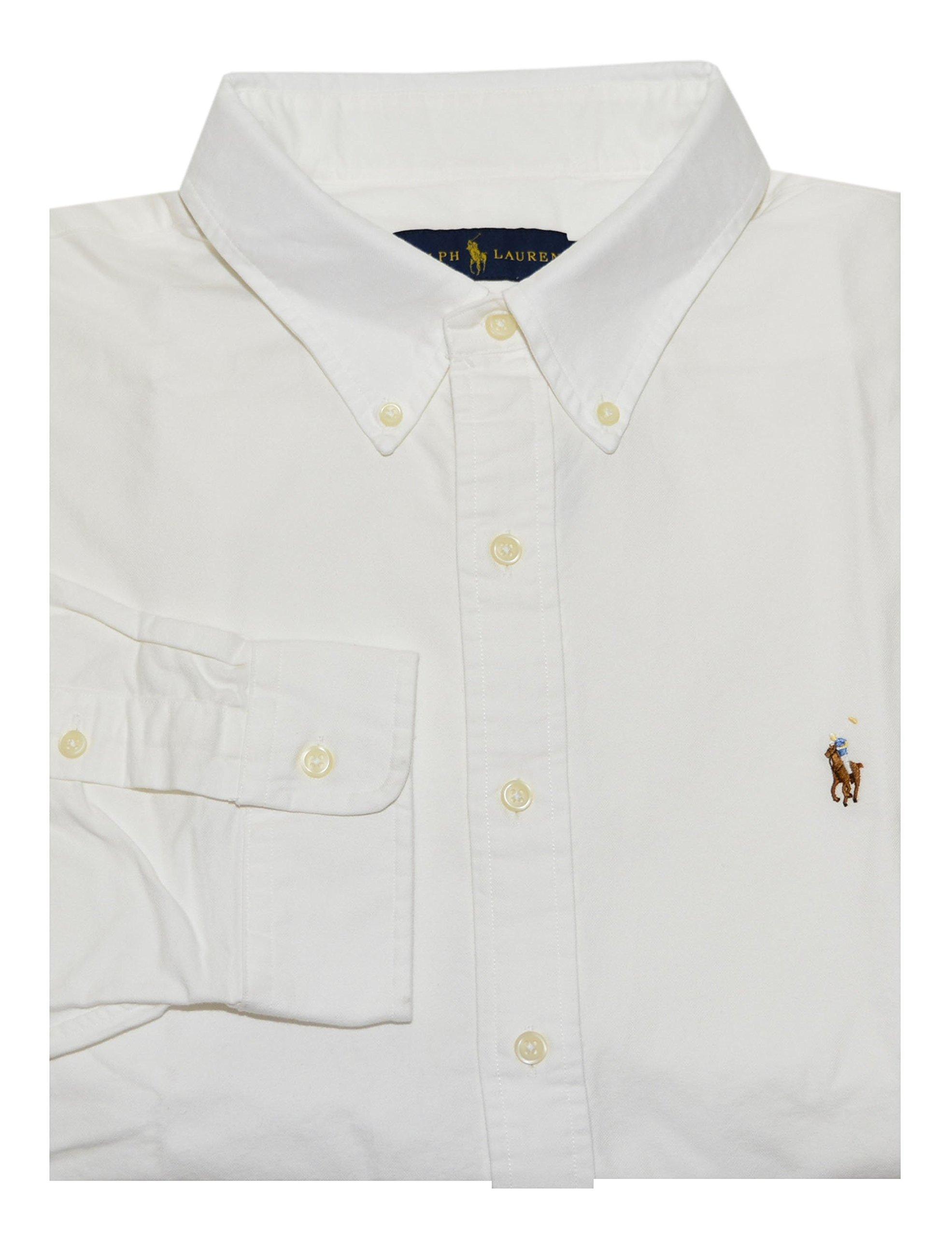 Polo Ralph Lauren Men's Long Sleeve Button Down Oxford Shirt (Large, White)