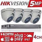 HIKVISION 5MP CCTV SECURITY SYSTEM 4K DVR 4CH 1TB H.265+ HIK 5 MP 2.8MM CAMERA OUTDOOR NIGHT VISION KIT UK SELLER DS-7204HUHI-K1