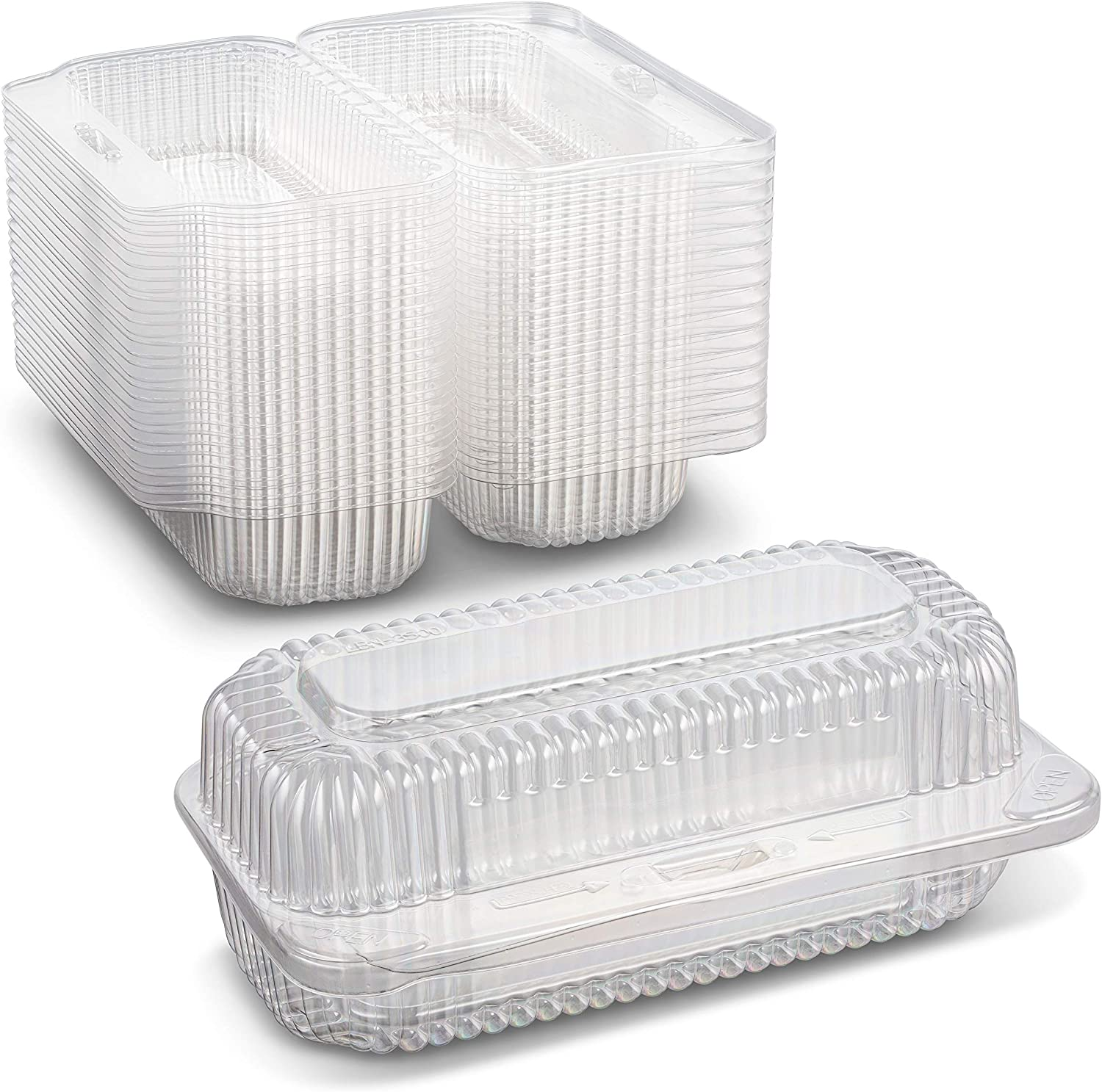 Clear Plastic Bakery or Hot Dog Container with Hinged Lid Size 6 1/2 x 2 3/4 x 2 9/16 Keep your Food Fresh and Tasty by MT Products (30 Pieces)