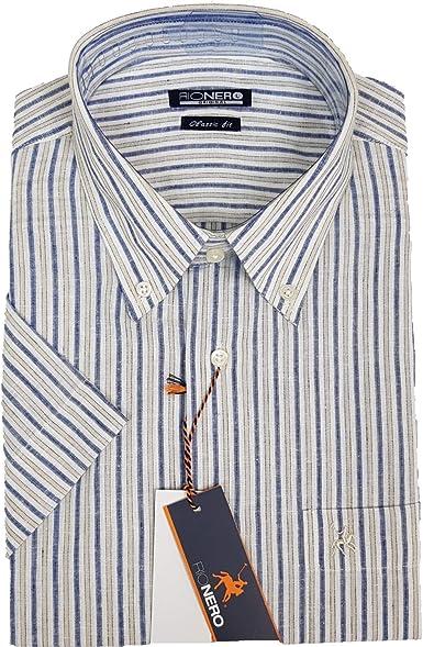 Rionero – Camisa de Hombre a Rayas B/Down clásica con Bolsillo de Lino y algodón: Amazon.es: Ropa y accesorios