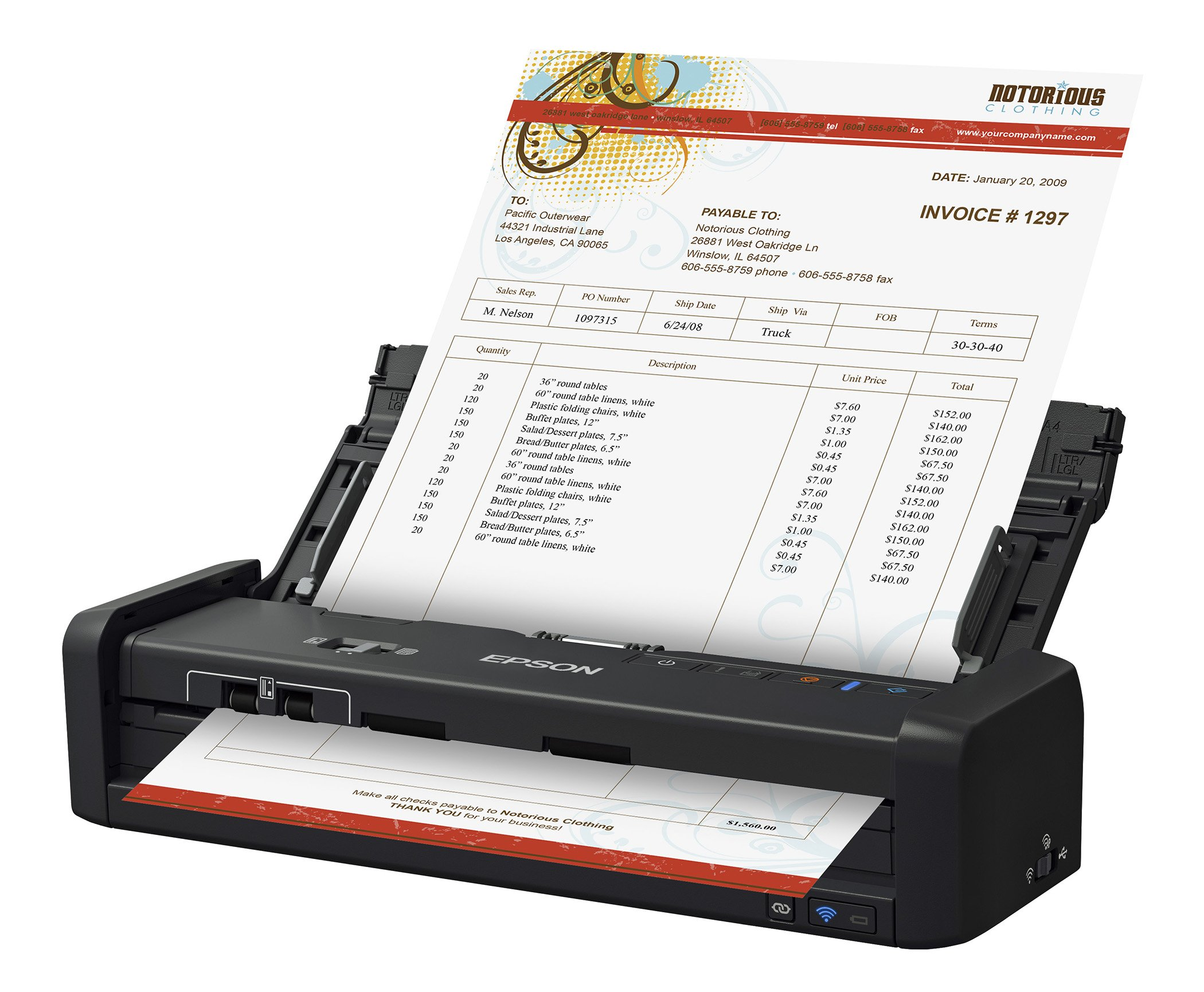 ES-300WR Wireless Color Portable Duplex Document Scanner Accounting Edition for PC and Mac, Auto Document Feeder (ADF) by Epson