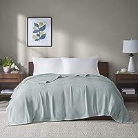 Madison Park Freshspun Basketweave Luxury Cotton Blanket Blue 90x90 Full/Queen Size Basketweave Premium Soft Cozy 100…