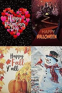 "Borogo 4-Pack Season Garden Flags, Double Sided Garden Flags, Halloween Fall Christmas Valentine's Day Garden Yard Flag Outdoor Decoration 12""x 18"""
