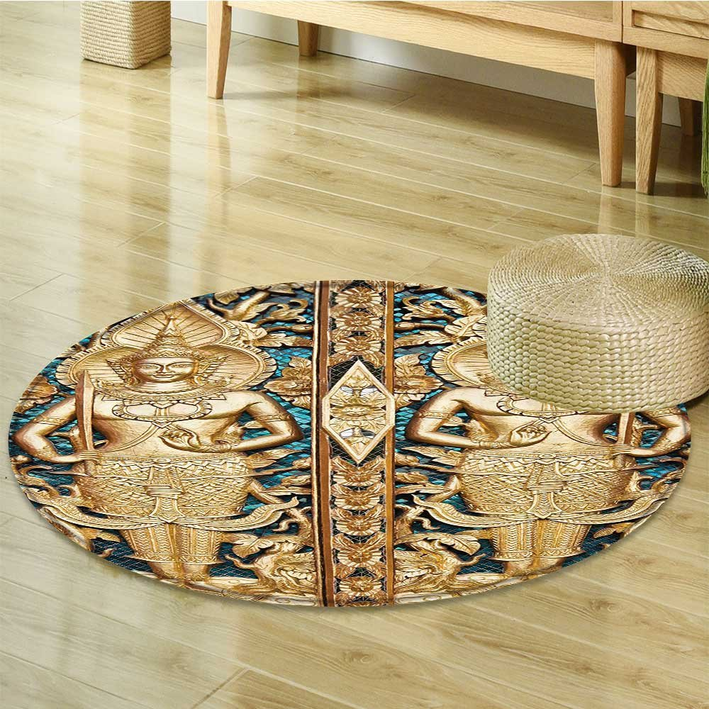 Nalahomeqq Rustic Decor Collection Thai Gate at Wat Sirisa Tong Thailand Buddhism Architecture History Spiritual Picture Polyester Fabric Room Circle carpet non-slip Golden Teal-Diameter 160cm(63'') by Nalahomeqq