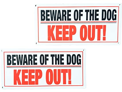 Bundlemasters 'Beware of Dog' Sign | 'Keep Out' | Gate Signs | Fence  Signage | Protect Your Property | Set of (2) Signs with Screws | Perfect  for