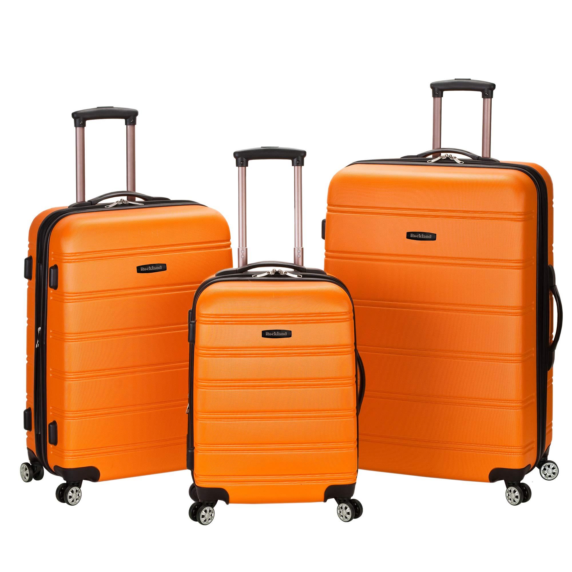 Rockland Melbourne 3 Pc Abs Luggage Set, Orange