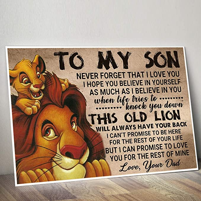 The Lion King Dad To My Son Promise To Love You Portrait Paper Poster No Frame