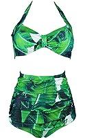 Cocoship Retro 50s Black Blue Floral Vintage High Waist Bikini Carnival Swimsuit(FBA)