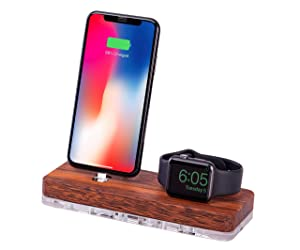 iPhone and Watch Charging Station, Devices Stand, Charging Holder Compatible with iPhone, Apple Watch Series, 2 in 1 iPad Mini, Airpods Organizer wood