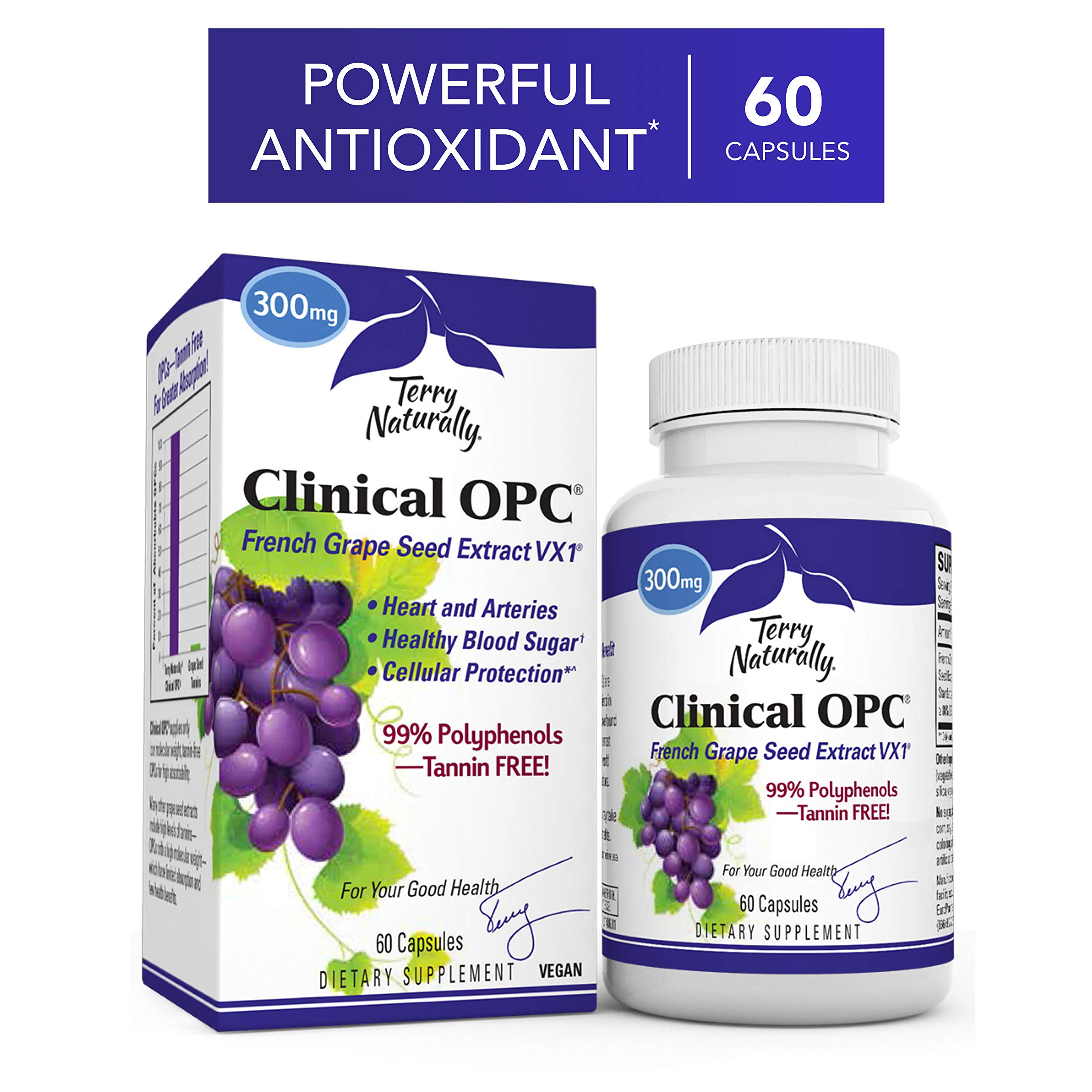 Terry Naturally Clinical OPC 300 mg - 60 Vegan Capsules - French Grape Seed Extract Supplement, Supports Heart & Immune Health, Antioxidant - Non-GMO, Gluten-Free, Kosher - 60 Servings