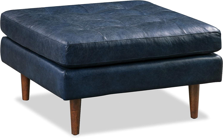 Poly and Bark Napa Ottoman in Full-Grain Semi-Aniline Italian Tanned Leather in Midnight Blue